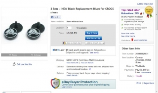 eBayで出品されているクロックスのリベット